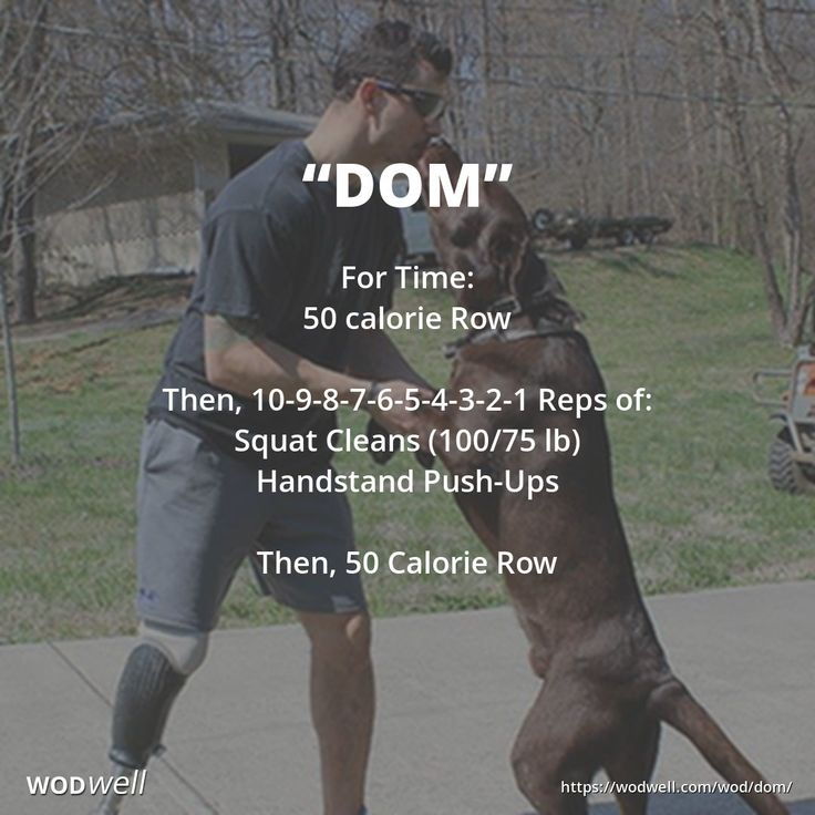 """""""Dom"""" WOD - For Time: 50 calorie Row; Then, 10-9-8-7-6-5-4-3-2-1 Reps of:; Squat Cleans (100/75 lb); Handstand Push-Ups; Then, 50 Calorie Row"""