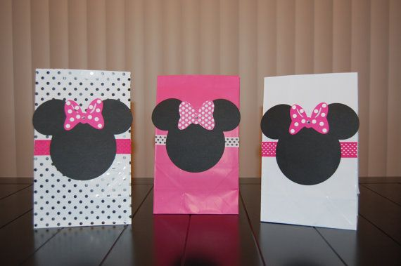 Minnie Mouse Favor Bags- Pink, White, and Polka Dot for Girl's Birthday Party. $13.00, via Etsy.