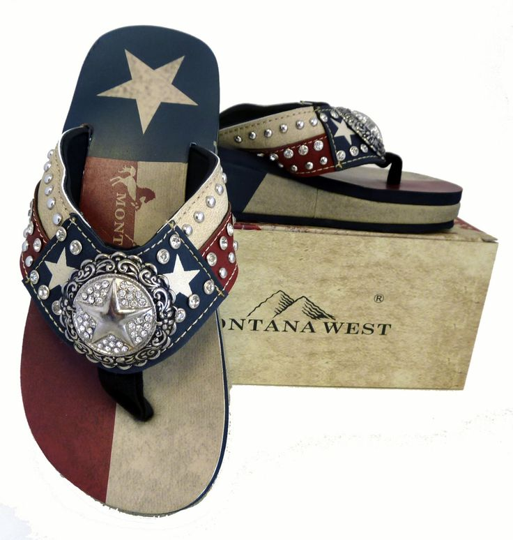 """Montana West Ladies Flip Flops Texas Lone Star Flag Navy Blue, 9 M US. Texas flag lone star and stripes design. 2"""" rhinestone encrusted star concho. Rhinestones and silver embellishments on strap. Texas Pride Collection."""