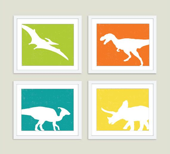 Dinosaurs Digital Prints  Set of Four 8x10  Wall Art  by AldariArt, $60.00