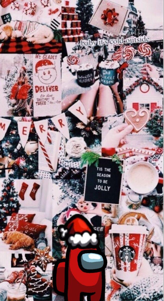 Among Us Christmas Collage Wallpaper Iphone Christmas Christmas Wallpaper