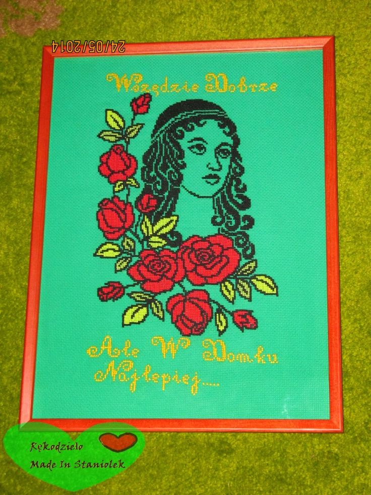RĘKODZIEŁO  MADE BY STANIOLEK: Haft krzyżykowy:) Ania z różami:)
