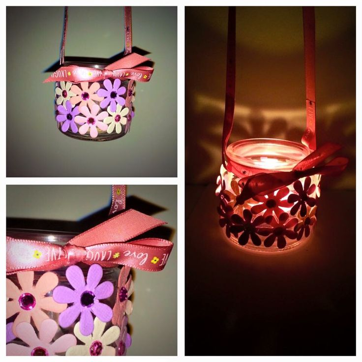 Pretty flower hanging candle holder