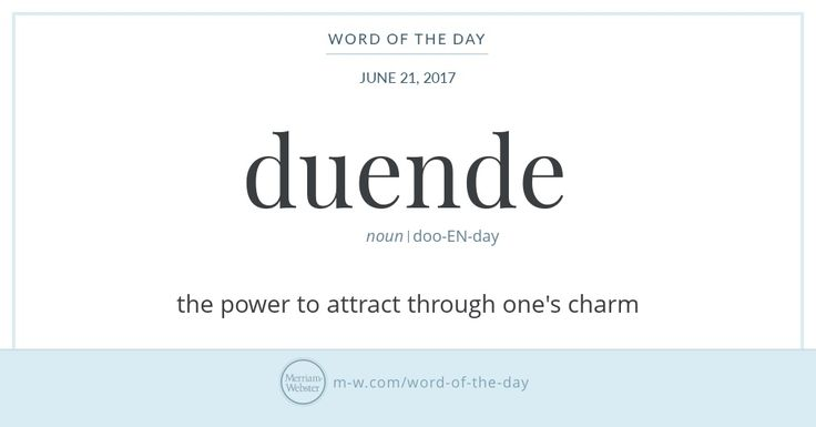 Duende — The word duende refers to a spirit in Spanish, Portuguese, and Filipino folklore. #WordOfTheDay https://www.merriam-webster.com/word-of-the-day/duende-2017-06-21?utm_content=buffere49d6&utm_medium=social&utm_source=pinterest.com&utm_campaign=buffer