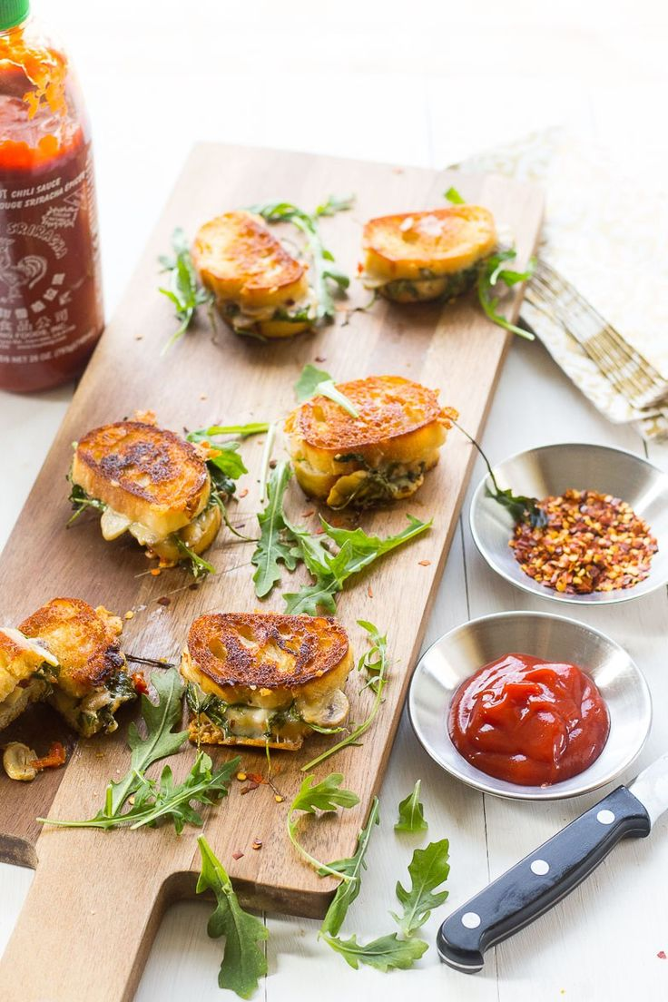 Mini Grilled Cheese Sandwich Appetizers -  made with aged cheddar, sundried tomatoes, mushrooms and arugula are perfect for easy summer entertaining!