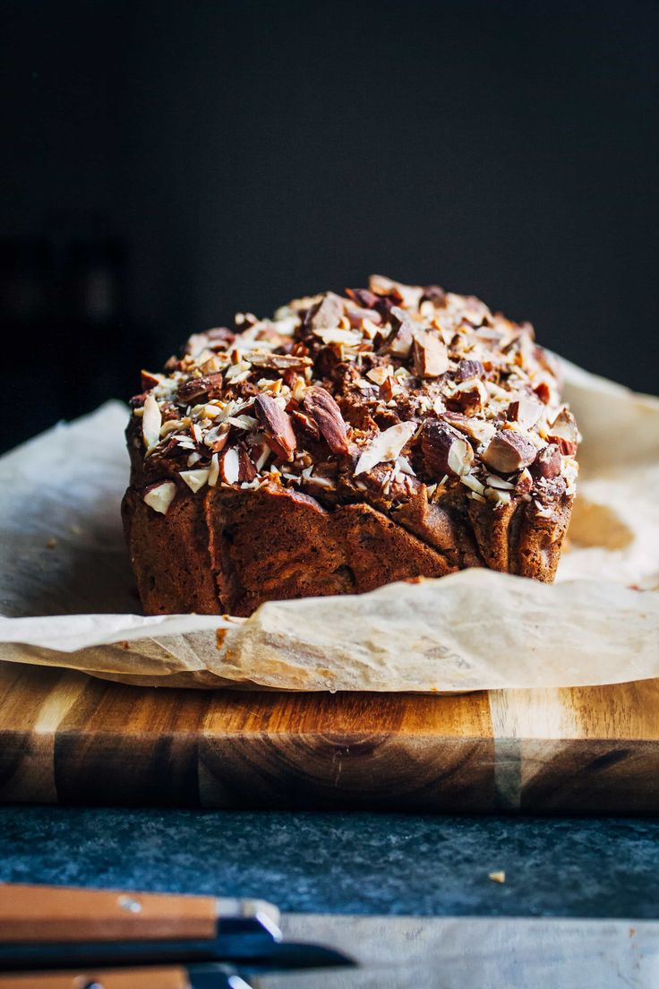 You'd never guess this almond banana bread is made from vegan, whole-food ingredients - it's sweet and delicious and goes perfectly with coffee!
