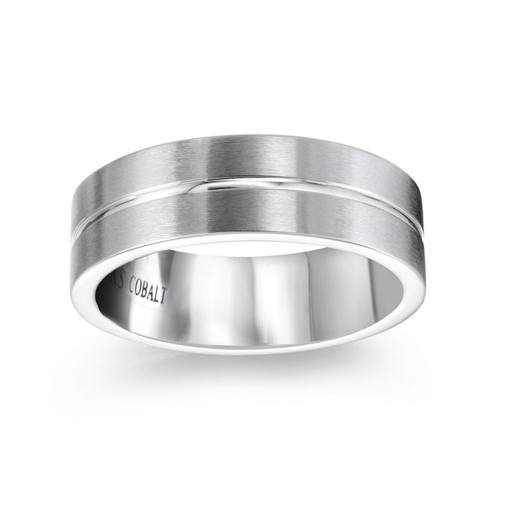 Matte white gold wedding band, for him