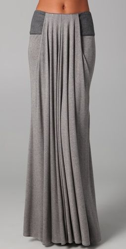 Waterfall style... Love this: Maxi Dresses, Style Long, Long Skirts, Grey Maxi Skirts, Long Modest, Comfy Maxi, Yoga Pants, Draping Skirts, Modest Skirts