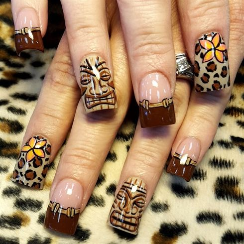 Tikis and leopard by Oli123 from Nail Art Gallery