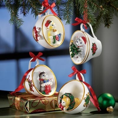 tea cup crafts pinterest   Christmas crafts/homemade gifts / Christmas Kittens in Tea Cups ...