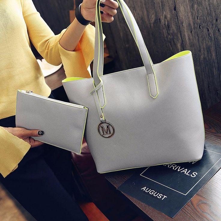 $ 0 – Schöne Frauen Handtaschen Pu-Leder Composite-Taschen Big Grey Umhängetasche …