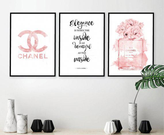 Chanel Chanel Poster Chanel Print Set Chanel Wall Art Coco Chanel Print Chanel Set Of 3 Chanel Quote Chanel Wall Art Fashion Wall Decor Fashion Wall Art