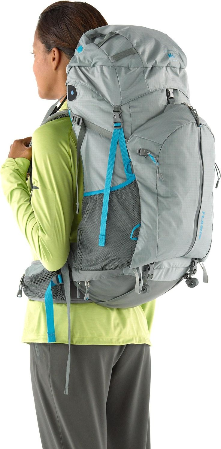 The women's REI Flash 52 pack sports a redesigned frame, hipbelt and back panel, combining ultralight materials with the comfort and performance you'd expect from a heavier pack. #REIGifts