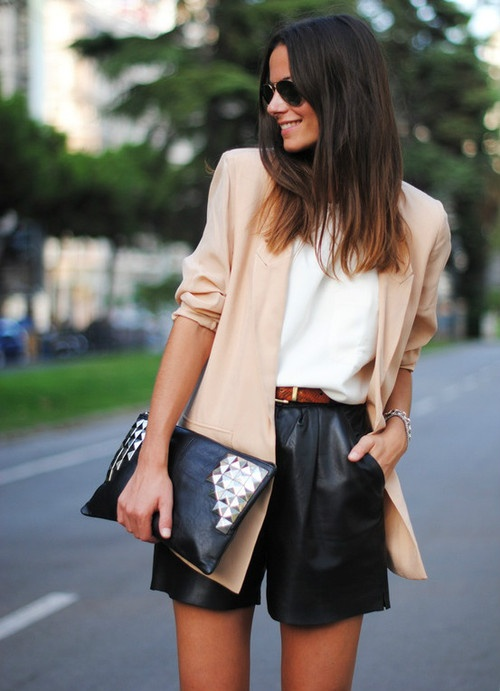 Nude blazer + leather shorts