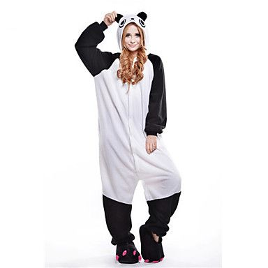 Kigurumi Pajamas New Cosplay? / Panda Leotard/Onesie Halloween Animal Sleepwear Black/White Patchwork Polar Fleece Kigurumi Unisex