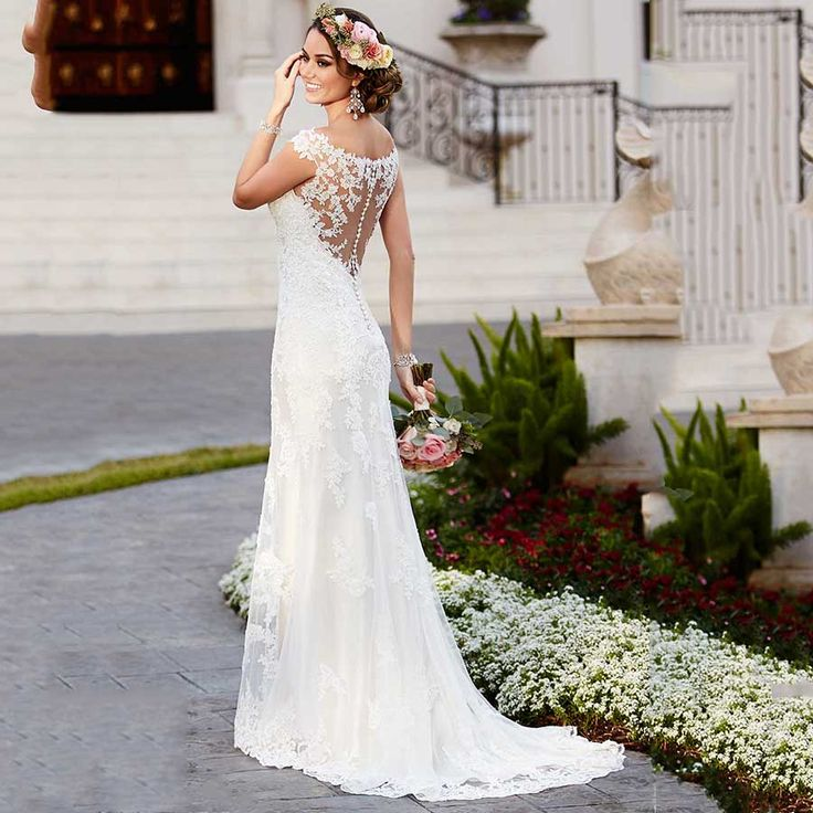 Find More Wedding Dresses Information about Wonderful Plus Size Summer Bridal Gowns Sexy Sheer Back Luxury Lace Beach Wedding Dress 2016 with Cap Sleeves ,High Quality dress open,China gowns and dresses Suppliers, Cheap dresses leopard from Custom-Made for You on Aliexpress.com
