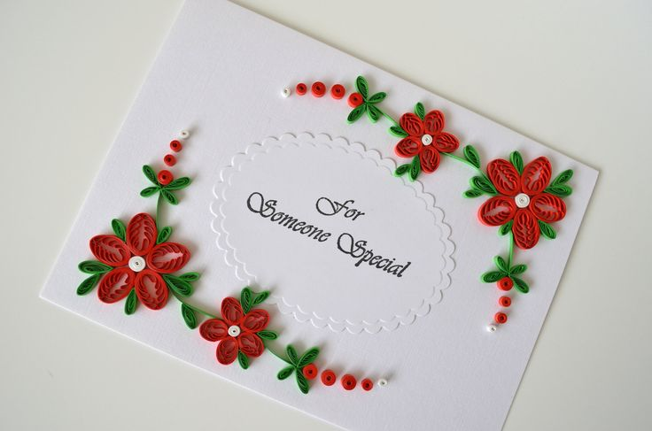 quilling easter | Red flowers quilled greeting card for someone special by vaidaaa