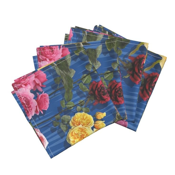 Amarela Dinner Napkins featuring Blue roses by angelfraser   Roostery Home Decor