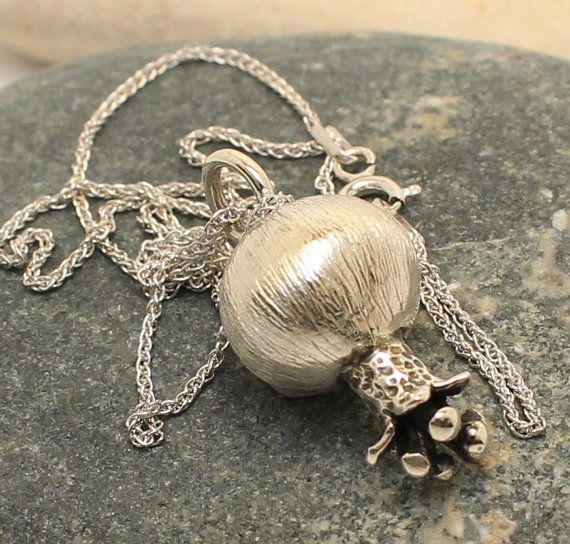 """Handmade """"Pomegranate"""" Necklace of sterling silver with sterling silver chain"""