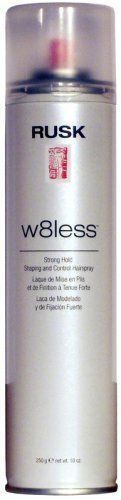 Rusk W8less Strong Hold Shaping and Control Spray 10 oz (250 g) by Rusk. $8.99. Shape, memory & hi-shine. Stays pliable so you can rework styles.. Strong internal hold for any hair type.. This product not tested on animals.. Adds brilliant shine. Rusk W8less Strong Hold Shaping and Control Spray is a versatile design tool that provides texture, natural shine and long-lasting touchable support. It contains Thermplex™, a unique combination of ingredients that act...