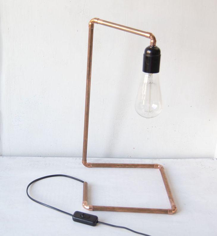 Lampara de cobre con bombilla vintage DIY