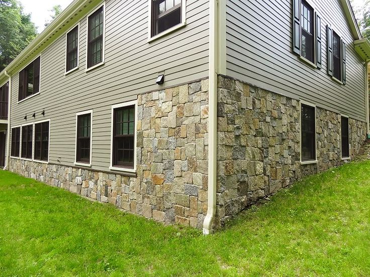 Foundation Covering with Natural New England Thin Stone Veneer