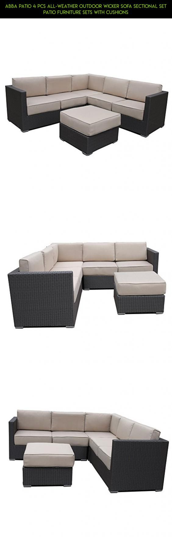 Abba Patio 4 Pcs All-Weather Outdoor Wicker Sofa Sectional Set Patio Furniture Sets with Cushions #drone #camera #products #furniture #fpv #clearance #end #technology #tech #tables #plans #patio #gadgets #racing #parts #shopping #kit