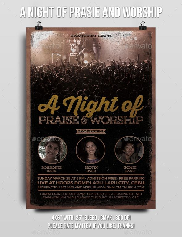A Night of Praise and Worship Church Flyer