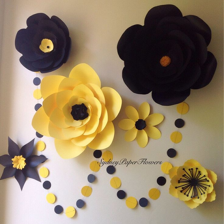 Items Similar To Bumble Bee Set Of Paper Flowers Paperflowers Backdrop BirthdayParty Decoration Wall Decor Photoprop On Etsy