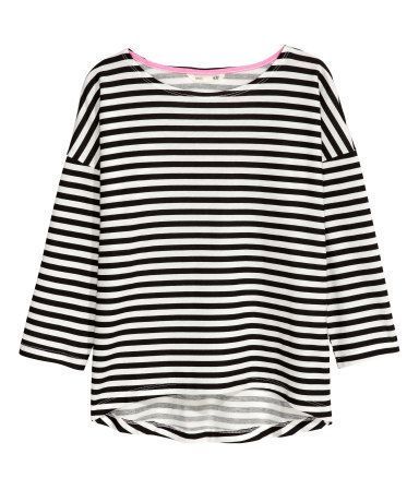 Trikottopp | Sort/Hvit stripet | Barn | H&M NO