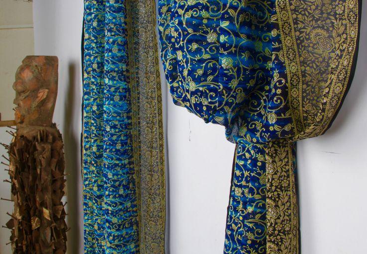 "SALE - SARI Navy Blue Turquoise, Window scarf / treatment, sheer, blockprint, glitter, Rustic, tiedye, sari curtain, full length sari 190"" by ColorsbyPadmini on Etsy https://www.etsy.com/listing/475106770/sale-sari-navy-blue-turquoise-window"