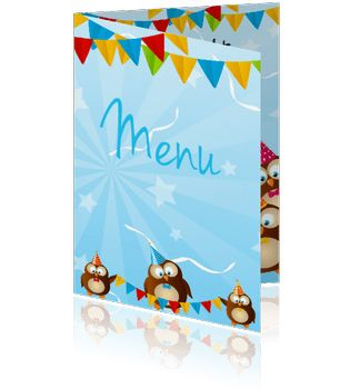 Voorbeeld van een leuke menukaart of kindermenu of feestmenu maken.