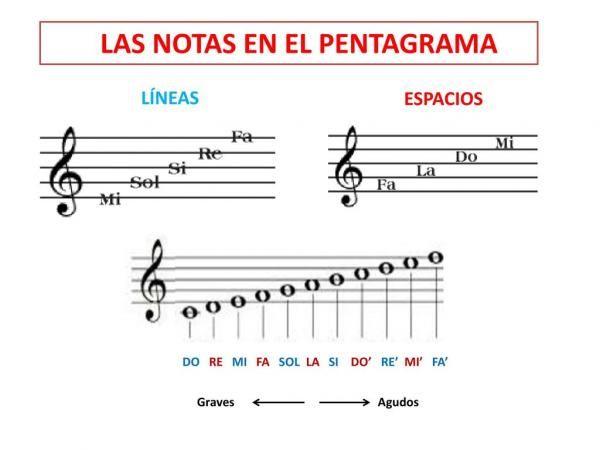 Lista Con Las Notas Musicales En El Pentagrama Como Leer Notas Musicales Notas Musicales Notas De Canciones
