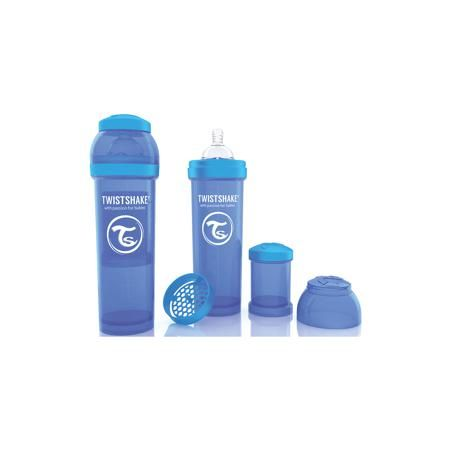 Twistshake Антиколиковая бутылочка 330 мл., Twistshake, синий  — 899р.  Антиколиковая бутылочка 330 мл., синий от шведского бренда Twistshake (Твистшейк), придет по вкусу малышам и современным родителям. Эти бутылочки идут в комплекте с контейнером для сухой смеси, чтобы можно было готовить смесь в любом месте непосредсвенно перед кормлением. Также в комплект входит решеточка для разбивки комочков смеси, делая саму смесь идеальной. Материал бутылочки имеет свойства сохранения температуры, не…