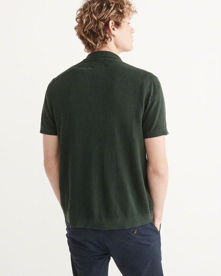 A&F Men's Garment Dye Button-Up Polo Sweater in Green - Size XXL