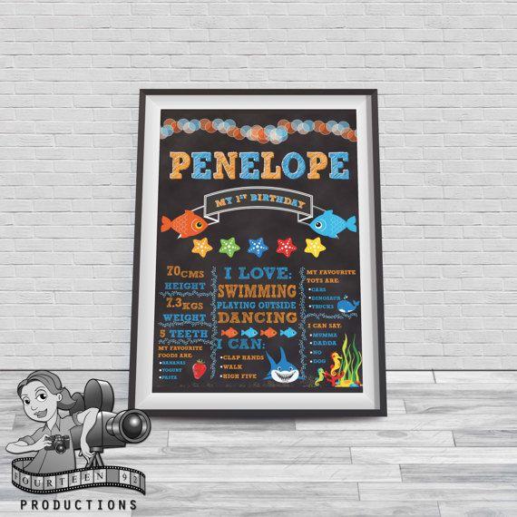 Fish Chalkboard Milestone Poster by fourteen92prod on Etsy
