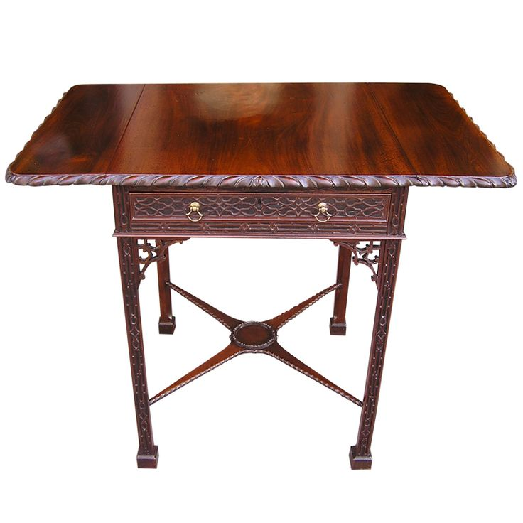 English Chinese Chippendale Mahogany Pembroke Table Circa 1750 TableDrop Leaf