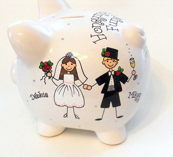 Piggy Bank Bride and Groom Personalized Wedding Honeymoon Fund Engagement Gift