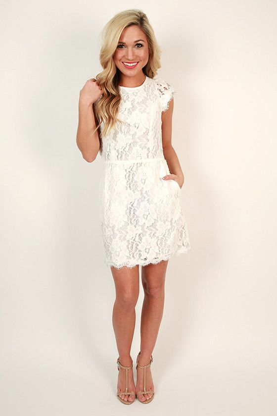 Queen's Lace Mini Dress in White