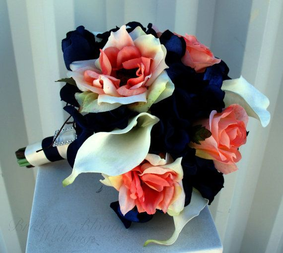Bridesmaid Bouquet coral navy white calla by BrideinBloomWeddings