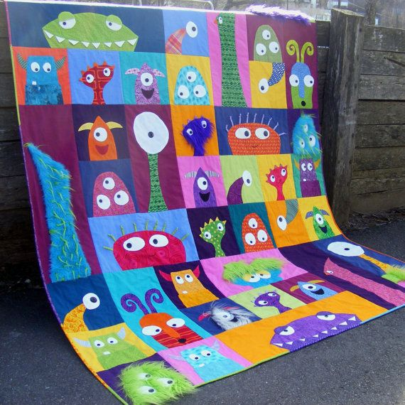 Scary Squares Monster Quilt Pattern PDF...this is adorable! My son would of loved this when he was little, he watched monster inc. all the time :)