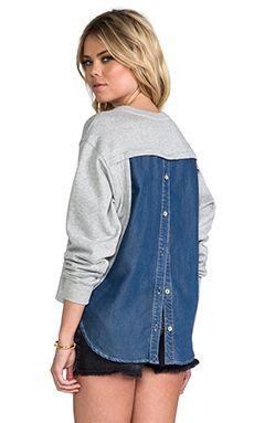 Funktional Blue Hour Back Button Sweatshirt in Grey & Denim | REVOLVE