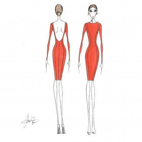 Patrón cuerpo base con escote trasero. #moda #flamenca #patrones #volantes #lunares #sketch #dibujo #boceto #pintura #modelo
