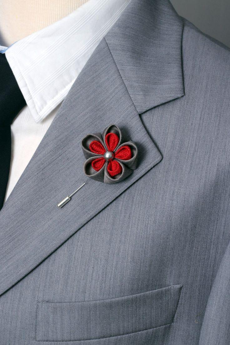 Hombres de plata elegante solapa flor en el ojal flor por Nevestica