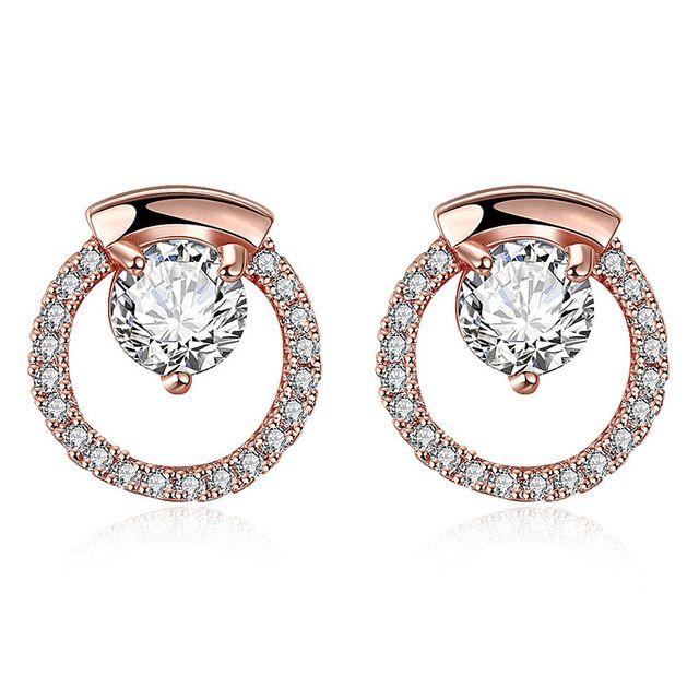 2016 새로운 AAA 지르콘 귀걸이 브랜드 로즈 골드 라운드 패턴 기하학적 크리스탈 스터드 귀걸이 여성 패션 보석 라인 석