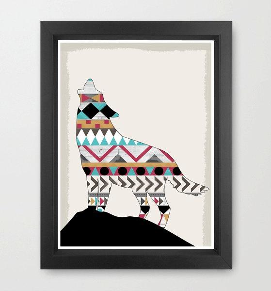Southwestern Native Wolf Boho Navajo Aztec  - A3 Modern Art Print. £14.00, via Etsy.