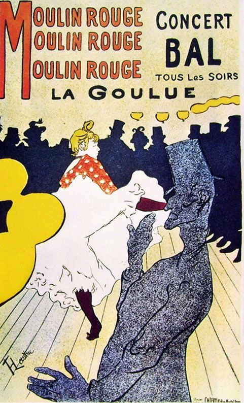 Henri de Toulouse-Lautrec, Moulin Rouge - la Goulue, 1891, cm. 195 x 122 manifesto