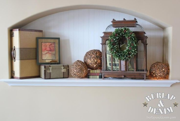 Subtle Christmas Plant Shelf with Light Up Rattan Balls