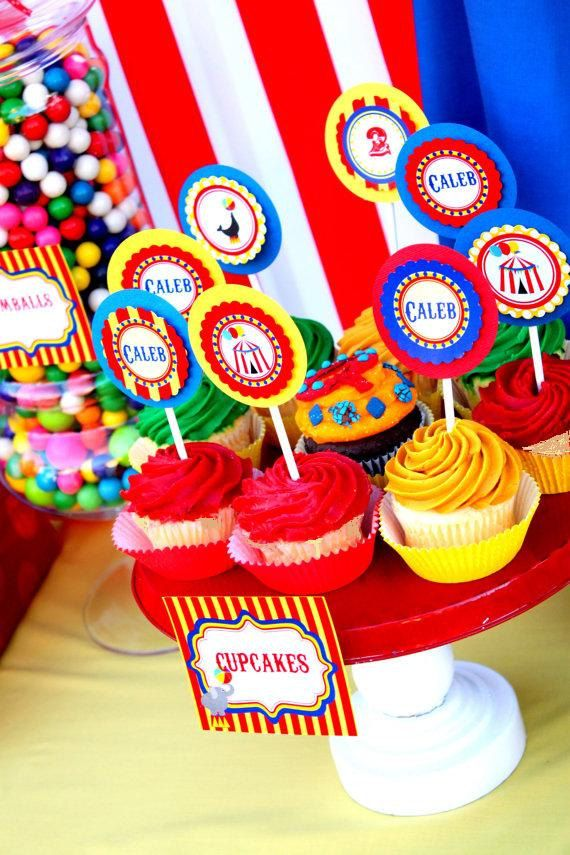 """CIRCUS PARTY - Carnival - CUPCAKE Toppers -  """"The Greatest Show On Earth"""" - Boy Birthday Party -  Little Girl -  Krown Kreations. $3.99, via Etsy."""
