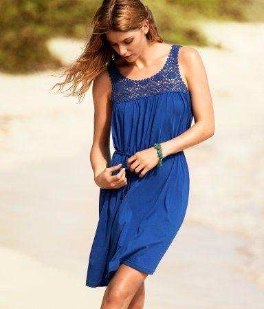 Modré šaty s krajkou - Letní šaty - Šaty